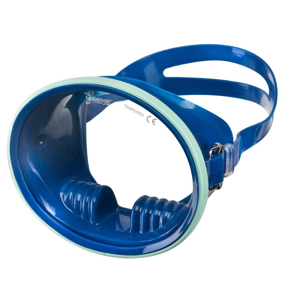 blue oval dive mask with mint frame