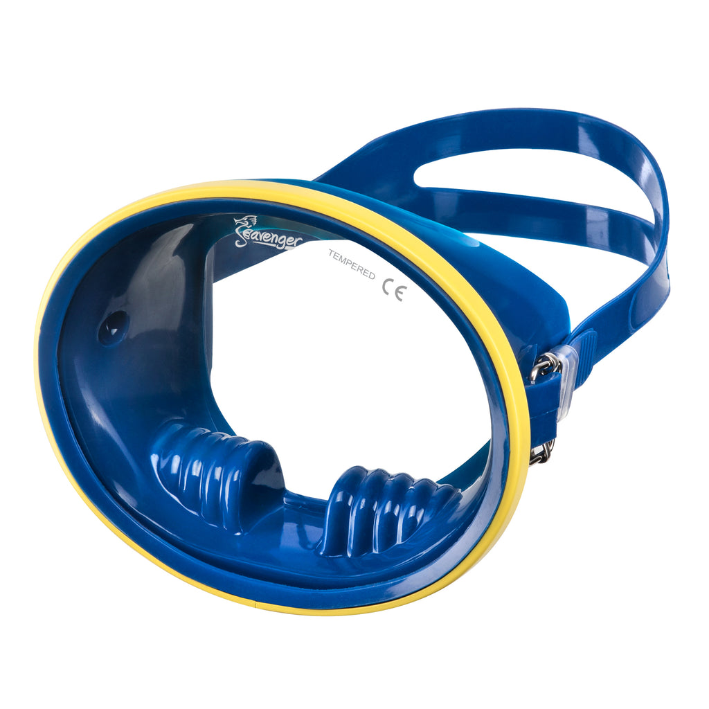 Blue oval dive mask with yellow frame