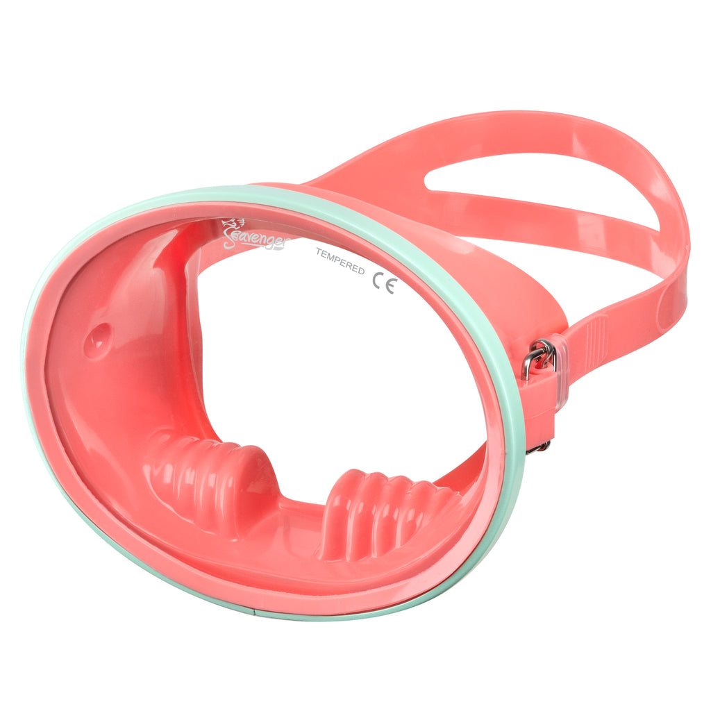 coral oval dive mask with mint frame