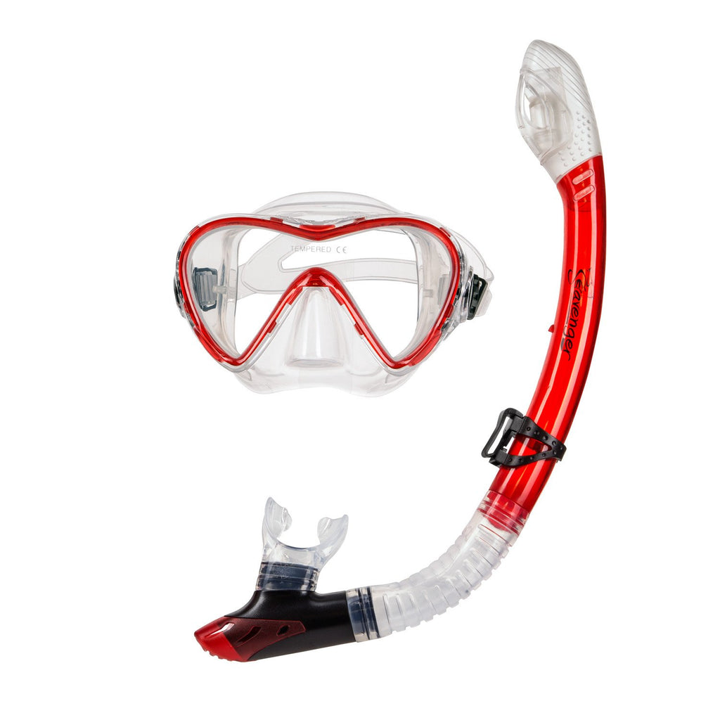 red dive mask and snorkel set