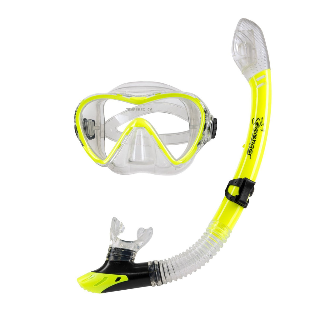 yellow dive mask and snorkel set