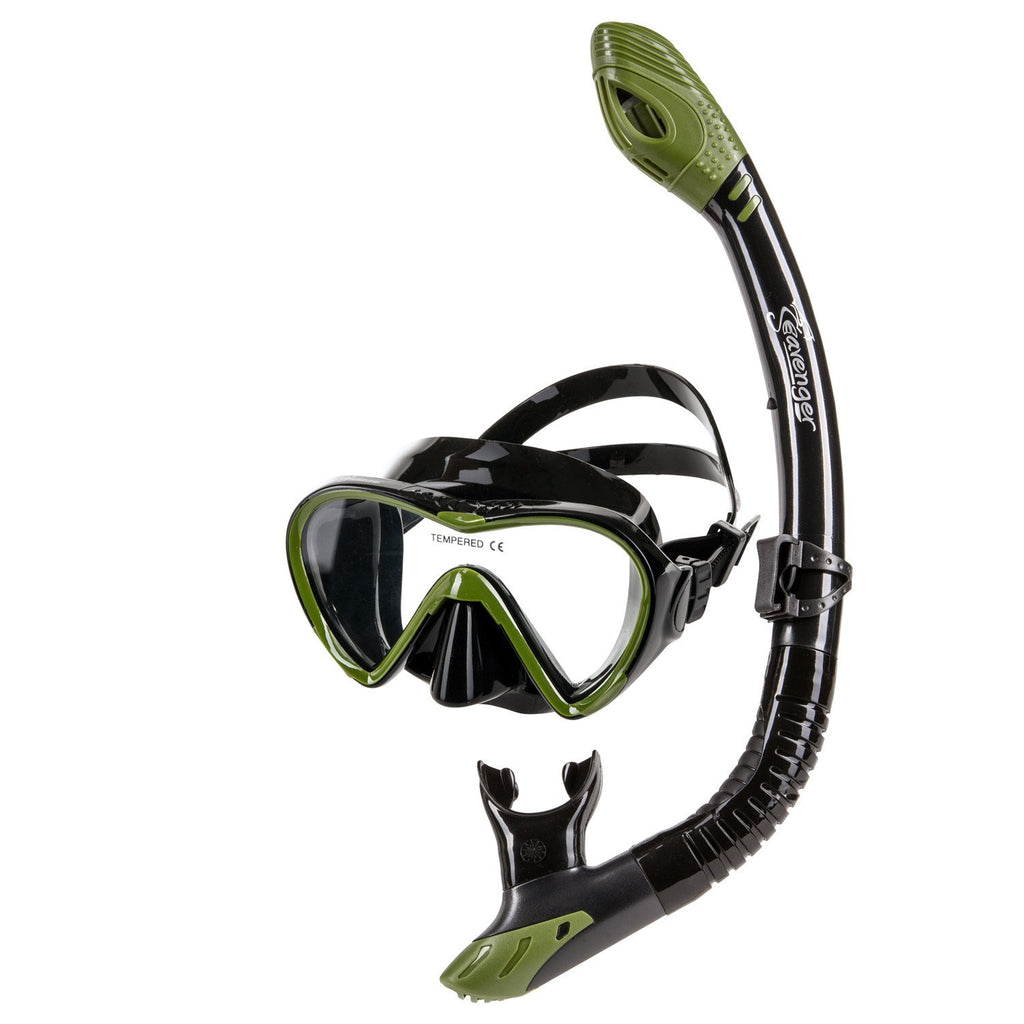 green dive mask and snorkel set