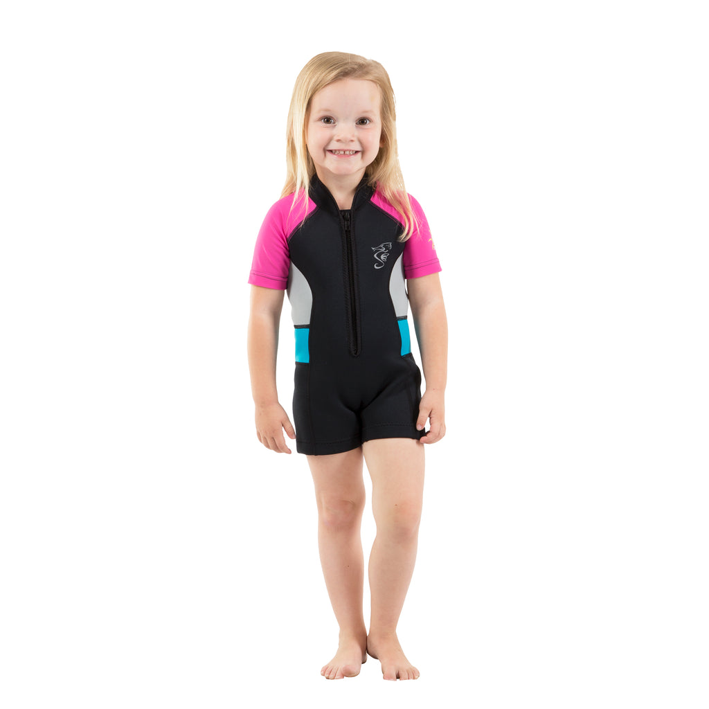 A 2mm neoprene swimsuit or wetsuit for children and toddlers with pink sleeves and gray/blue side panels.