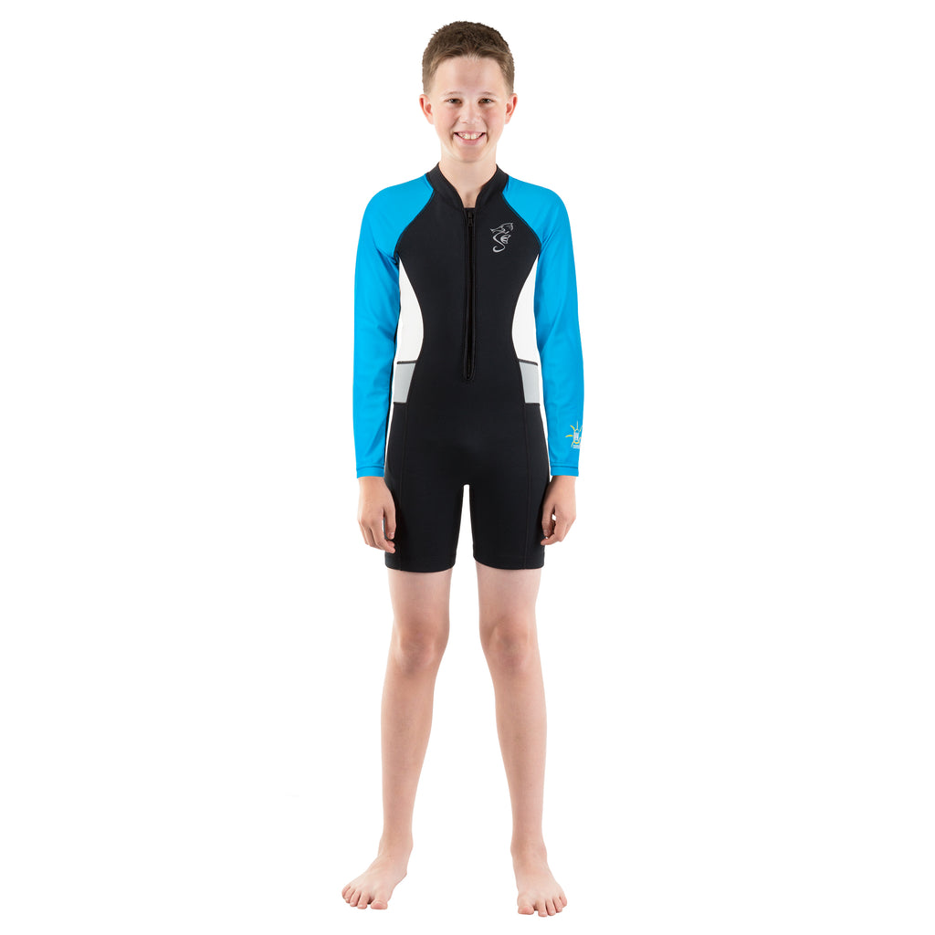 Cadet Kids Long Sleeve Shorty Wetsuit - Blue