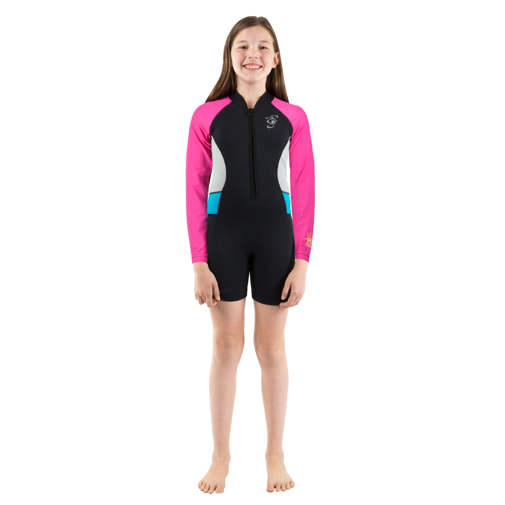 Cadet Kids Long Sleeve Shorty Wetsuit - Hot Pink