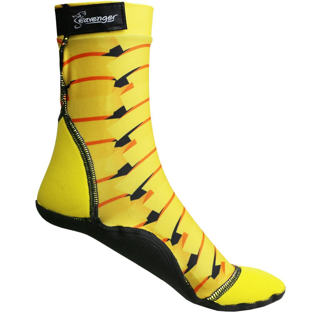 tall beach socks with a yellow ribbon pattern for sand soccer and volleyball