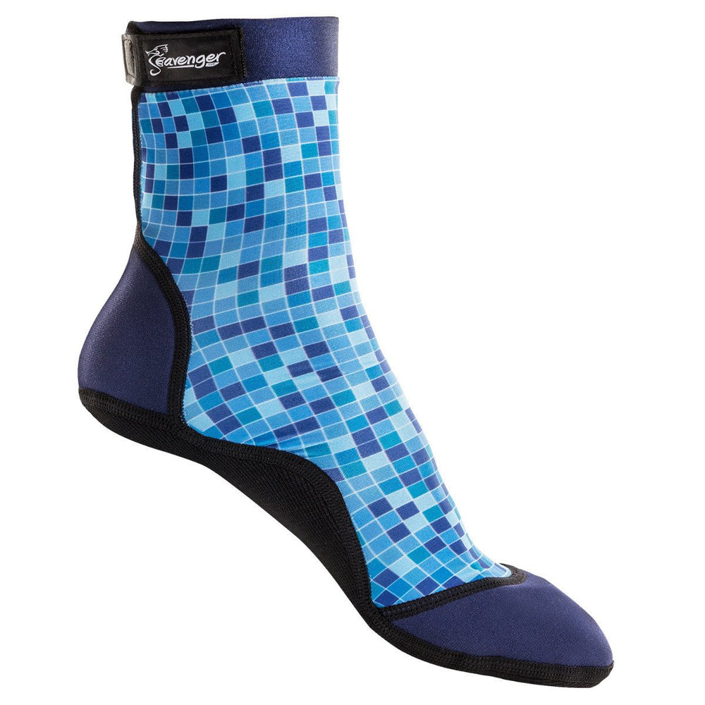 tall beach socks with a blue mosaic pattern for sand volleyball and soccer