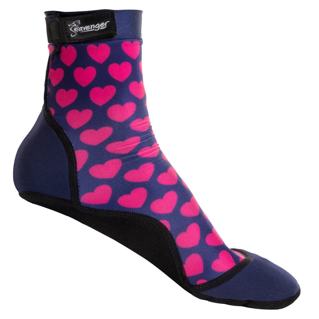 Tall beach socks with a pink hearts pattern for sand volleyball and soccer