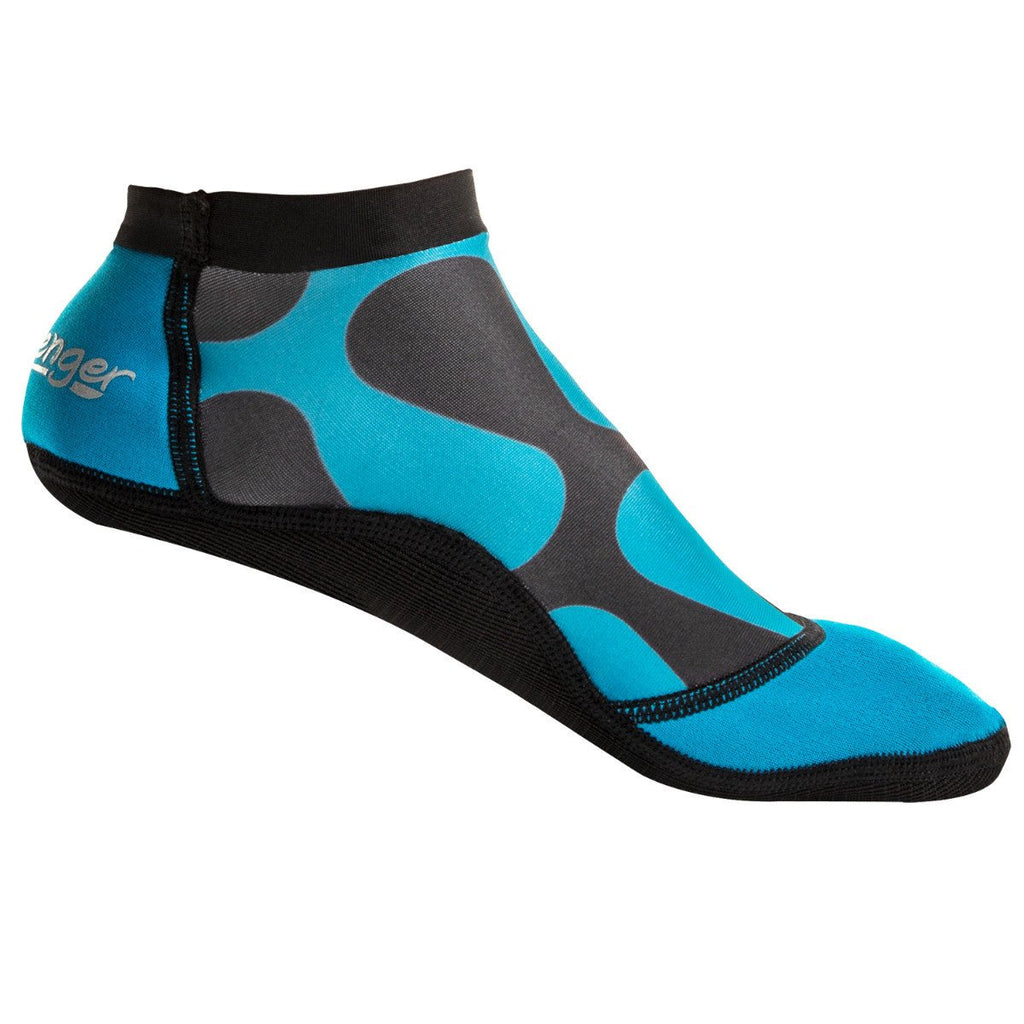 short beach socks with a blue wave pattern for sand volleyball and soccer