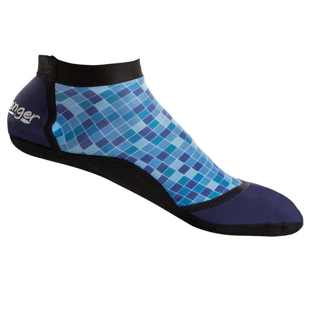 short beach socks with a blue mosaic pattern for sand soccer and volleyball