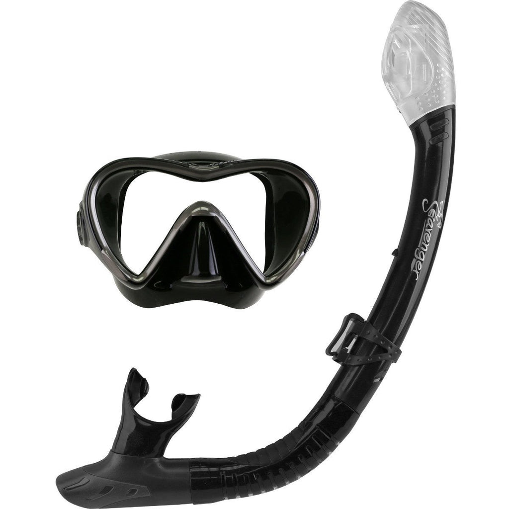 Black silicone mask and snorkel set