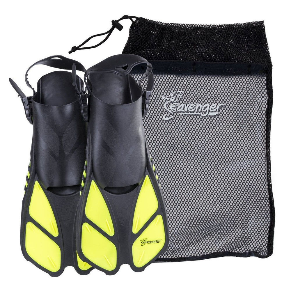 yellow snorkeling fins