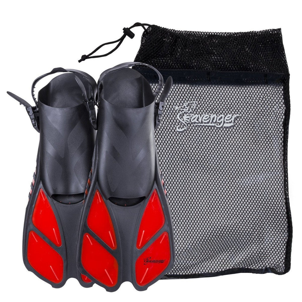 red snorkeling fins