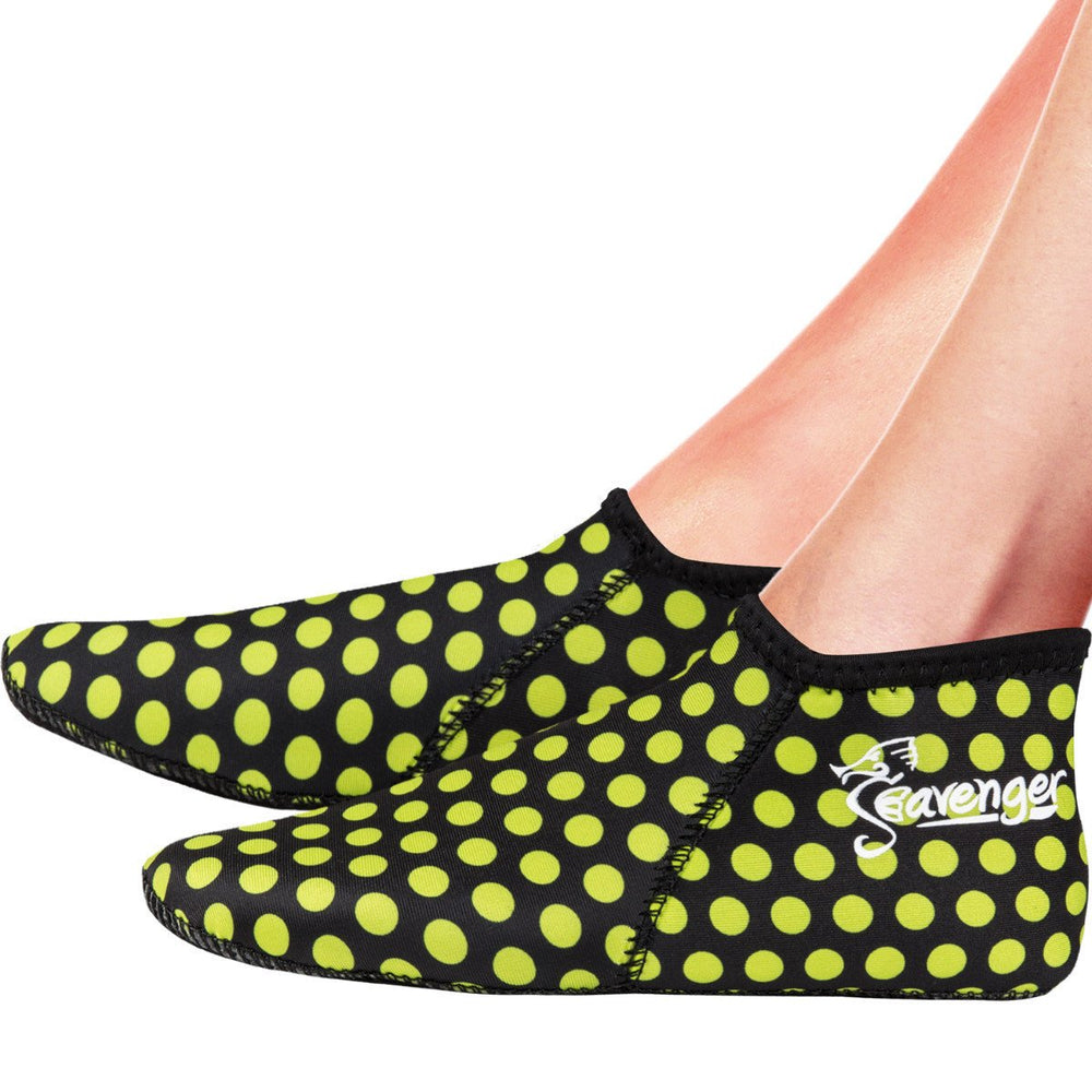 neoprene socks with a yellow polka dot pattern for scuba diving and snorkeling