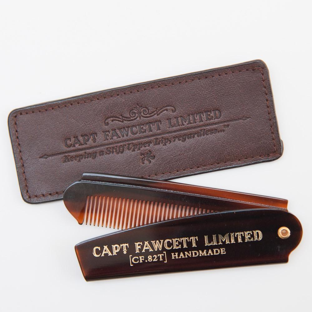 Captain Fawcett Folding Pocket Beard Comb with Leather Case
