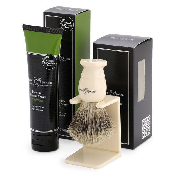 Edwin Jagger Ivory Shaving Brush and Aloe Vera Shaving Cream Gift Set GS114SCAVT