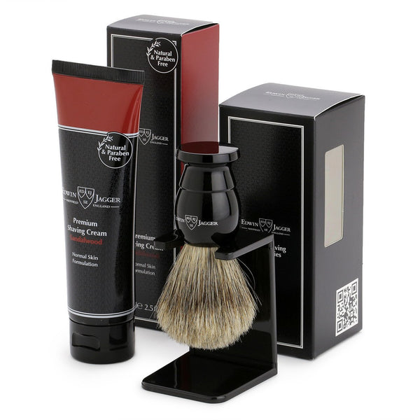 Edwin Jagger Ebony Shaving Brush and Sandalwood Shaving Cream Gift Set  GS214SCSWT