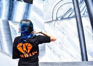 MEIRLIN BACK LOGO TEE - BLACK x ORANGE
