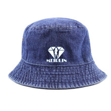 MEIRLIN LOGO DARK DENIM BUCKET HAT [UNIISEX/High Quality Washed Cotton Denim]