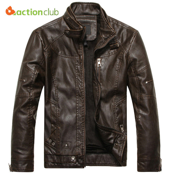ACTIONCLUB 2017 Mens Brand Motorcycle Leather Jacket Men Jaqueta De Couro Masculina Mens Leather Jackets Zip Leather Coats