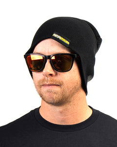 Beanie - Black Jersey Knit Stretch