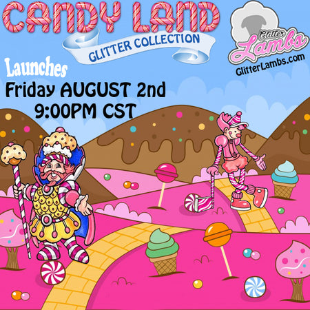 Candy Land Glitter Collection by GlitterLambs.com | King Kandy, Queen Frostine, Mr. Mint, Lord Licorice | Releases Aug 2, 2019 at 9pm CST