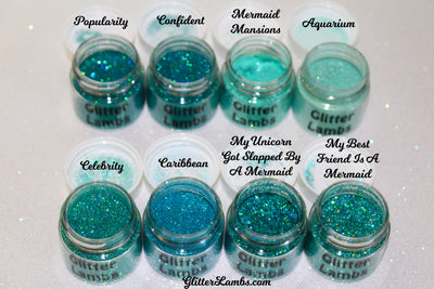 Glitter Lambs Aqua, Blue, Green Body Glitter & Loose Eyeshadow Pots
