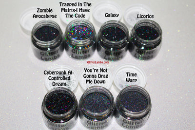 Glitter Lambs Black Holographic Body, Face & Hair Loose Glitter Pots