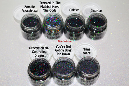 Glitter Lambs Body Face Hair Glitter in Black & Charcoal Holographic Glitter Pots by GlitterLambs.com