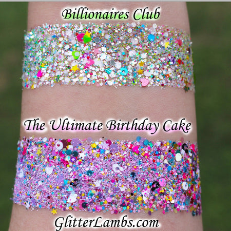 Chunky Body Glitter Mixes Billionaires Club and The Ultimate Birthday Cake Body Glitter Mixes by GlitterLambs.com