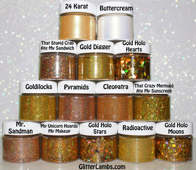 "Glitter Lambs ""Gold"" Makeup Pots 