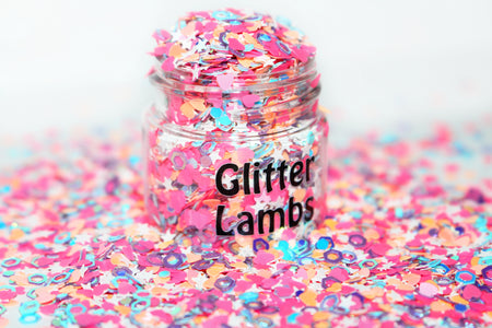 Best Body Glitter For Festivals by GlitterLambs.com | Chunky Loose Glitter Mixes For Body, Hair, Skin For Music Festival and Raves | Ice Cream Shop Glitter | Pink, Blue Chunky Loose Glitter Mix