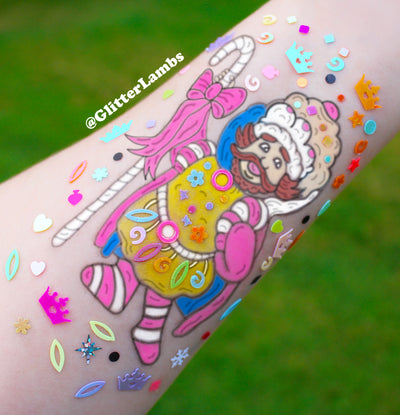 "Makeup Glitter Arm Swatch of King Kandy from ""Candy Land"""