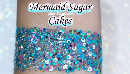 Mermaid Sugar Cakes Body Glitter GlitterLambs.com Chunky Mermaid Body Glitter