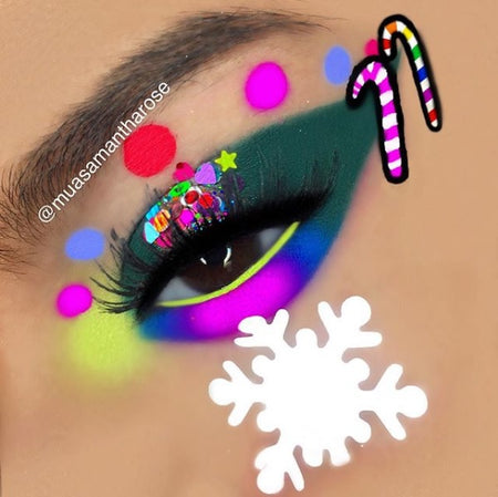 "@muasamantharose wearing Glitter Lambs ""Reindeer Games"" chunky body glitter in this Christmas eye makeup look."
