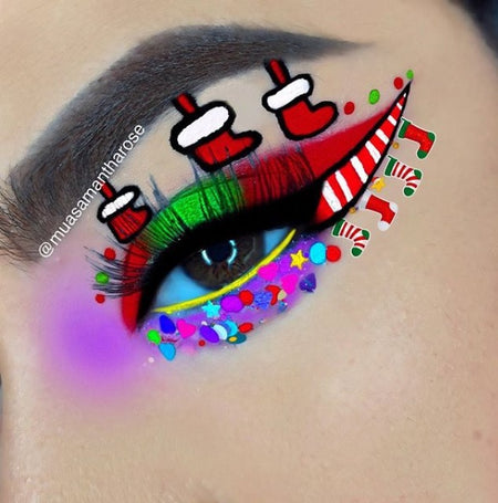 "Christmas Stocking Eye Makeup Look | Glitter Lambs ""Reindeer Games"" Chunky Body Glitter worn by @muasamantharose"