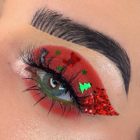 "@_jayrose96 created this FUN Christmas look using Glitter Lambs ""Mickey's Christmas Carol's body glitter."