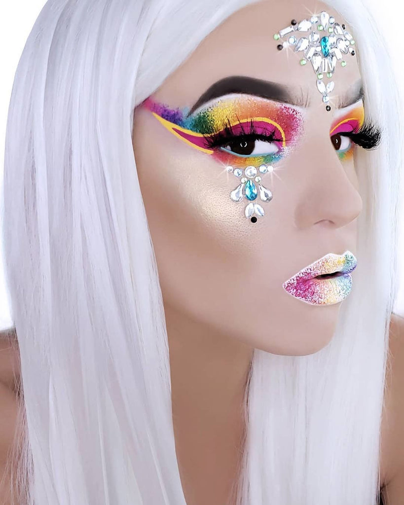 "Glitter Lambs ""Festival Face Jewel Stickers"" by GlitterLambs.com Worn by @ansleyrjones25 #festival #makeup #facejewels #glitterlambs #beauty #cosmetics #rave #glitter"