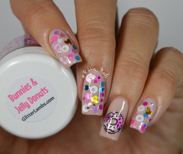 Glitter Lambs Bunnies And Jelly Donuts Nail Art Glitter www.GlitterLambs.com @Rikkis_Nails_