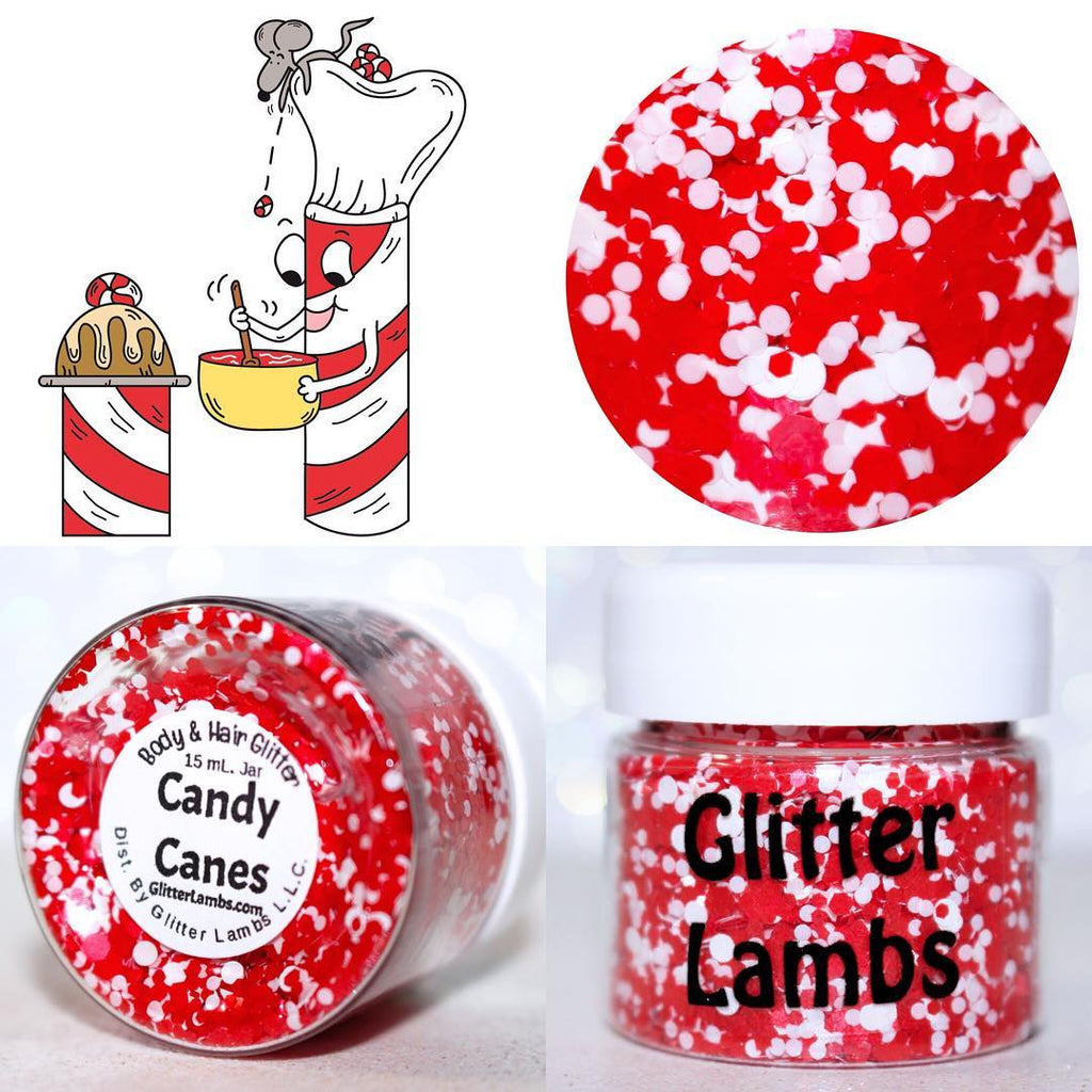 "Glitter Lambs 'Candy Canes"" Christmas body & hair glitter by GlitterLambs.com #christmasglitter #candycaneglitter #redglitter #christmas #candycanes #glitterlambs #glitter"