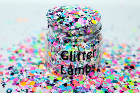 Care Bear Countdown Glitter by GlitterLambs.com. Great for arts, crafts, nails, resin, acrylic pouring, tumbler cups, etc.