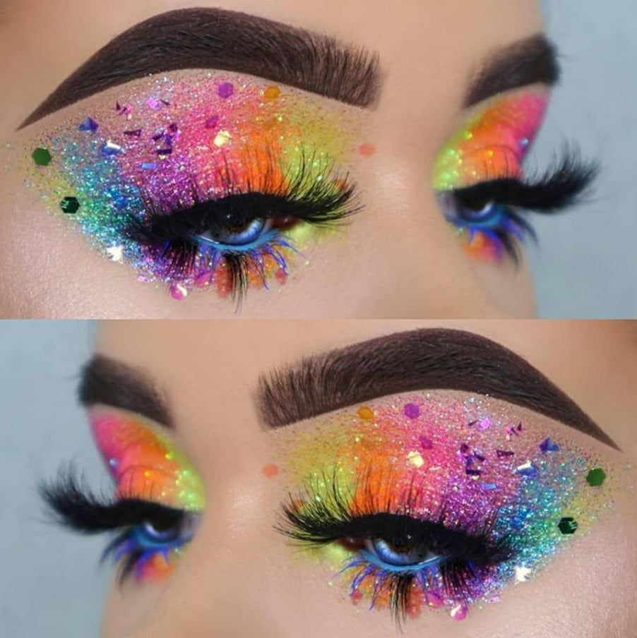 Rainbow Glitter Eyes Makeup Look For Music Festival, Rave, EDC, Electric Zoo, Coachella, EDM Shop GlitterLambs.com #festival #rave #musicfestival #ravegirls
