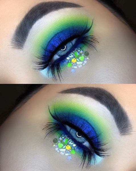 "@shanmacmua wearing Glitter Lambs ""Elves And Frosted Christmas Fairies"" chunky body glitter in above photo."