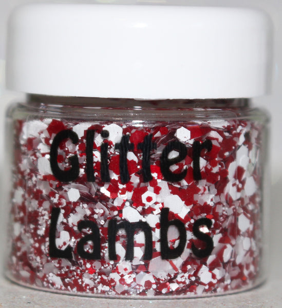 Elves Love Candy Cane Cereal Chunky Christmas Body Glitter Festival Face Loose Chunky Body GlitterLambs.com #bodyglitter #glitter #chunkyglitter #glitterlambs #christmasbodyglitter