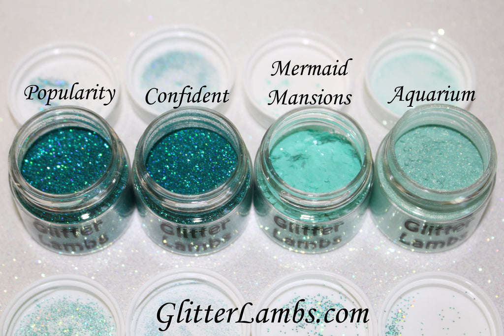 Glitter Lambs Aqua Blue Green Body Face Hair Glitter Pots By GlitterLambs.com