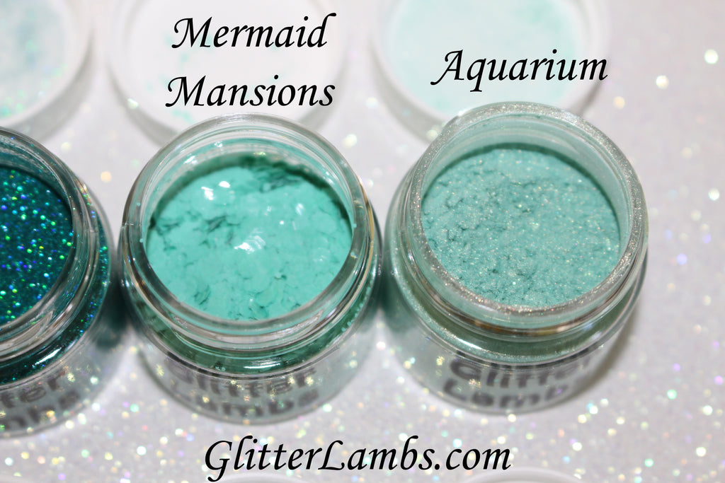 Glitter Lambs Body Face Hair Glitter Pots in Aqua Green and Blue GlitterLambs.com Mermaid Mansions Body Glitter, Aquarium Loose Eyeshadow