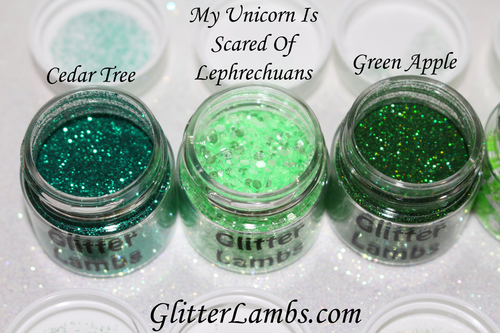 Glitter Lambs Green Body Glitter Pots in Cedar Tree, My Unicorn Is Scared Of Leprechauns, Green Apple