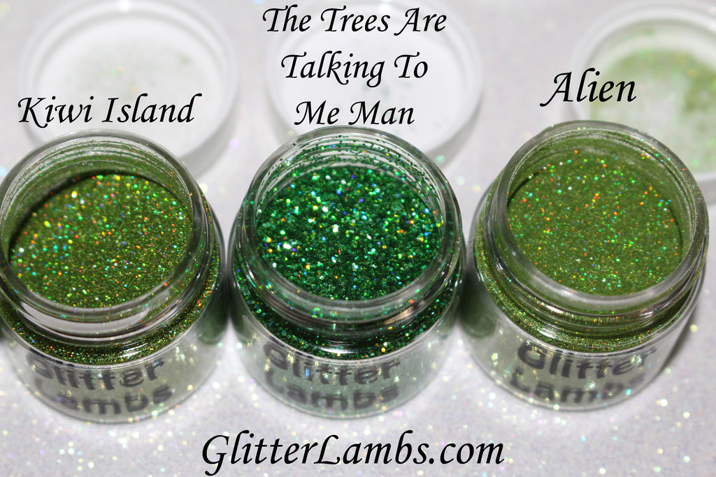 Glitter Lambs Body Glitter in Green - Glitter Pots in Kiwi Island, The Trees Are Talking To Me Man, Alien GlitterLambs.com