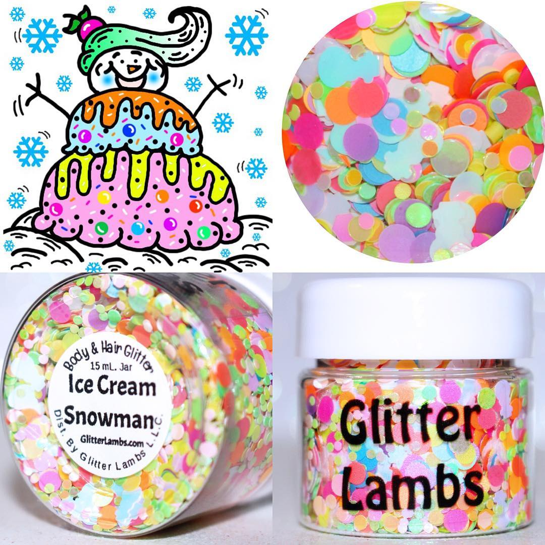 "Glitter Lambs ""Ice Cream Snowman"" Christmas Body and Hair Glitter by GlitterLambs.com #glitter #christmasglitter #christmas #snowmanglitter"