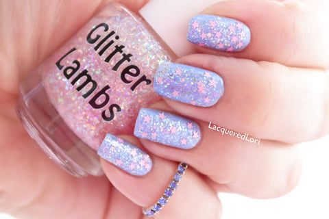 "Glitter Lambs ""It's Snowing Cotton Candy"" Glitter Topper Nail Polish by GlitterLambs.com 